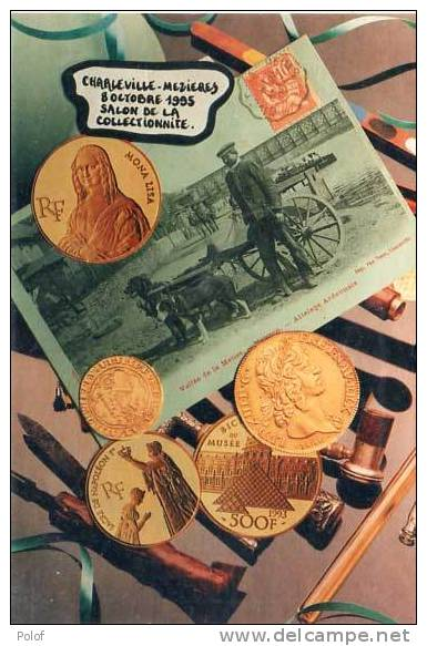 Pieces De Monnaies Et Cpa (reproductions Sur CPM Charleville Mezieres - Salon CP (21457) - Monnaies (représentations)