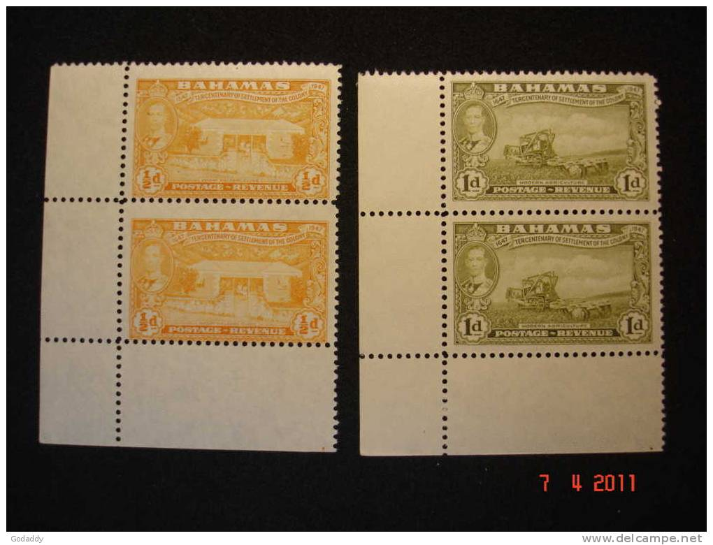 Bahamas 1948 K. George VI Tercentenary Pair 1/2d And 1d  MNH Superb SG178 And 179 - Bahamas (...-1973)