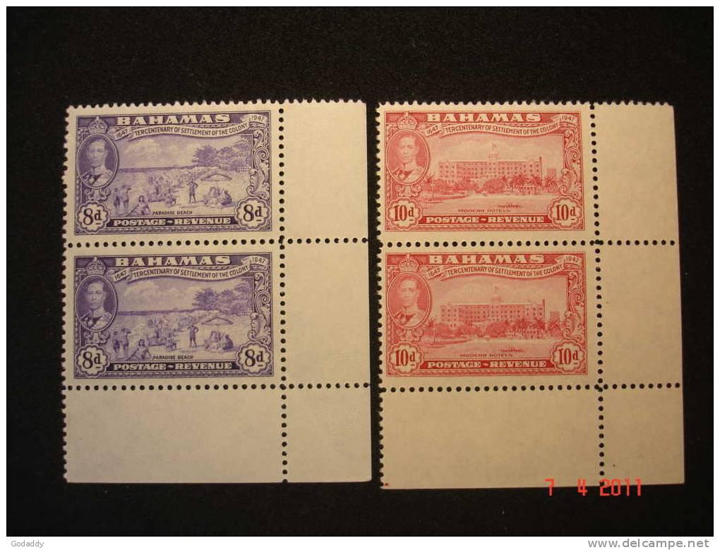 Bahamas 1948 K. George VI Tercentenary Pair 8d And 10d  MNH Superb SG186 And 187 - Bahamas (...-1973)