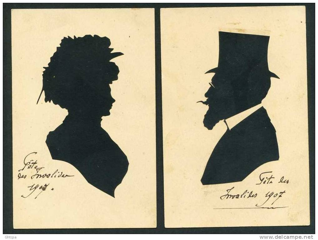 Lot De 2 CPA. ILLUSTRATIONS Portraits Découpages De Papiers Noirs Appliqués Sur Fond Couleur Papier. Pas De Signature. - Illustrateurs & Photographes