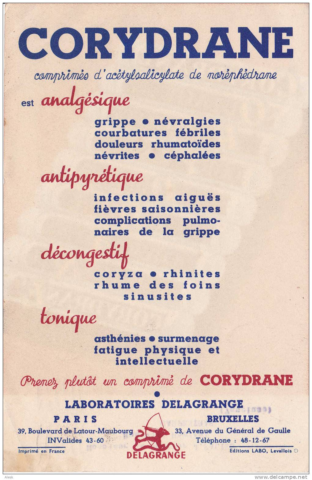 PHARMACEUTIQUE - Laboratoires Delagrange - Corydrane - Décongestif - Distribution Par Courrier - Publicités