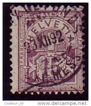 Zumst. 64 A / Mi. 57 X / Y. & T. 70 / De 1889 Type Chiffre De 15 C. Pourpre, Oblit. De 1892 - Used Stamps