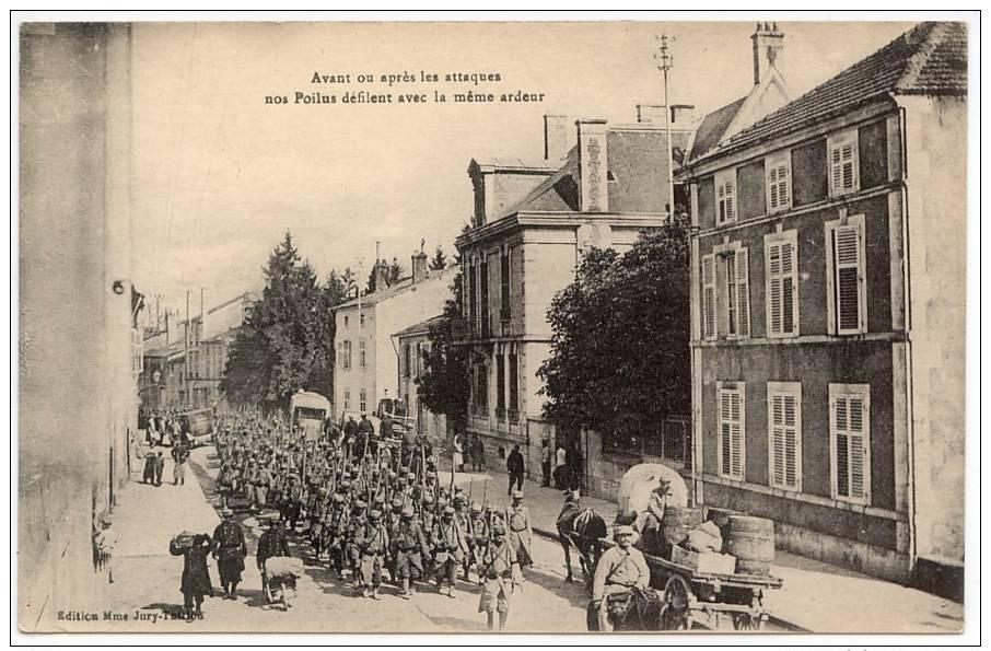 Vintage Postcard, Avant Ou Apres Les Attaques Nos Poilus Defilent Avec La Meme Ardeur - War 1914-18