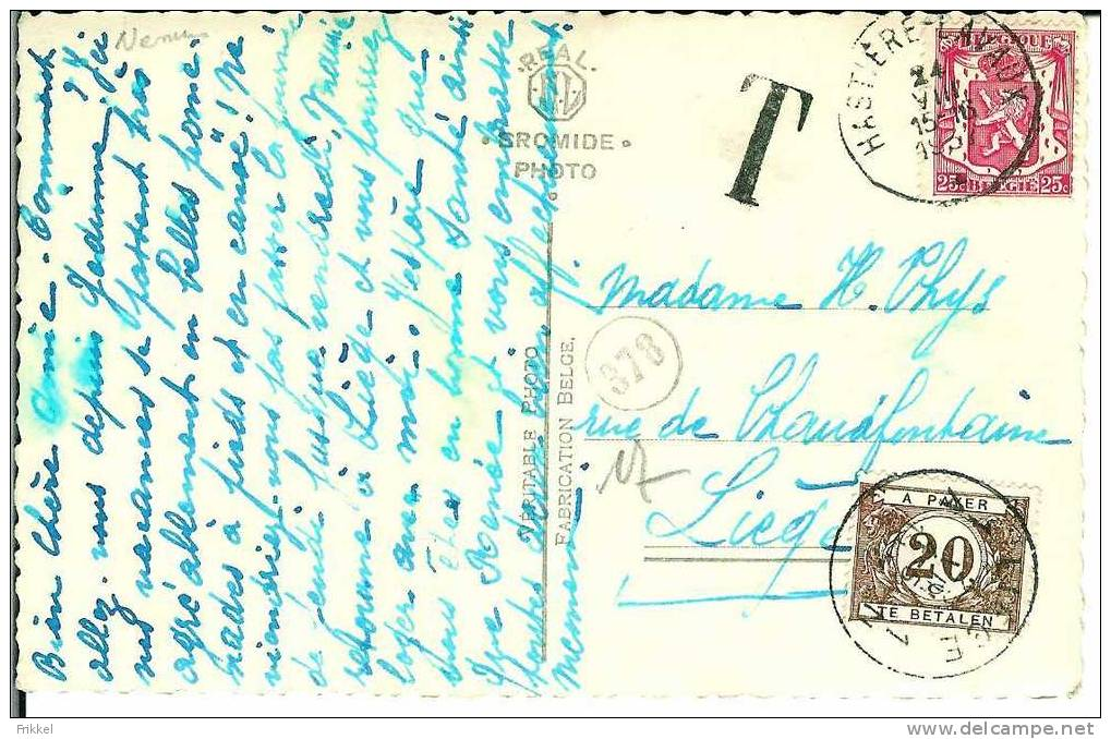 Fotokaart Carte Photo Hastière Eglise Romane 1937 Taxe Tax Taxzegel 20c - Hastière