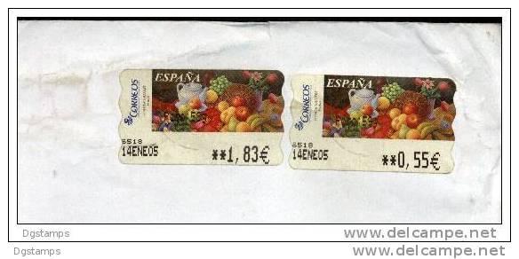 """España 2005 ATM Yv88 (x2) """"Frutas"""" Sammer Gallery (1.83 + 0.55 Eur) Pintura , Circulado A Uruguay. 2 Scans - ATM - Frama (vignette)"""