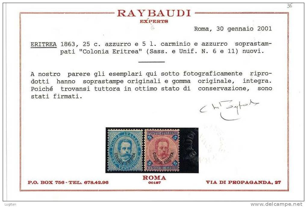 Filatelia - COLONIE ITALIANE - ERITREA - RE UMBERTO I°  - SERIE 1/11 ( ** ) NUOVA GOMMA INTEGRA MNH - CERT. RAY - Eritrea