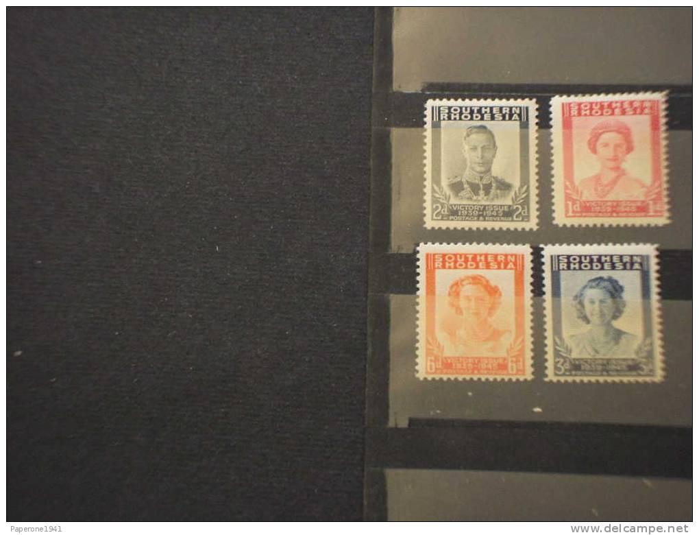 SOUTHERN RHODESIA - 1945 VITTORIA 4v. - NUOVI(++)-TEMATICHE - Southern Rhodesia (...-1964)