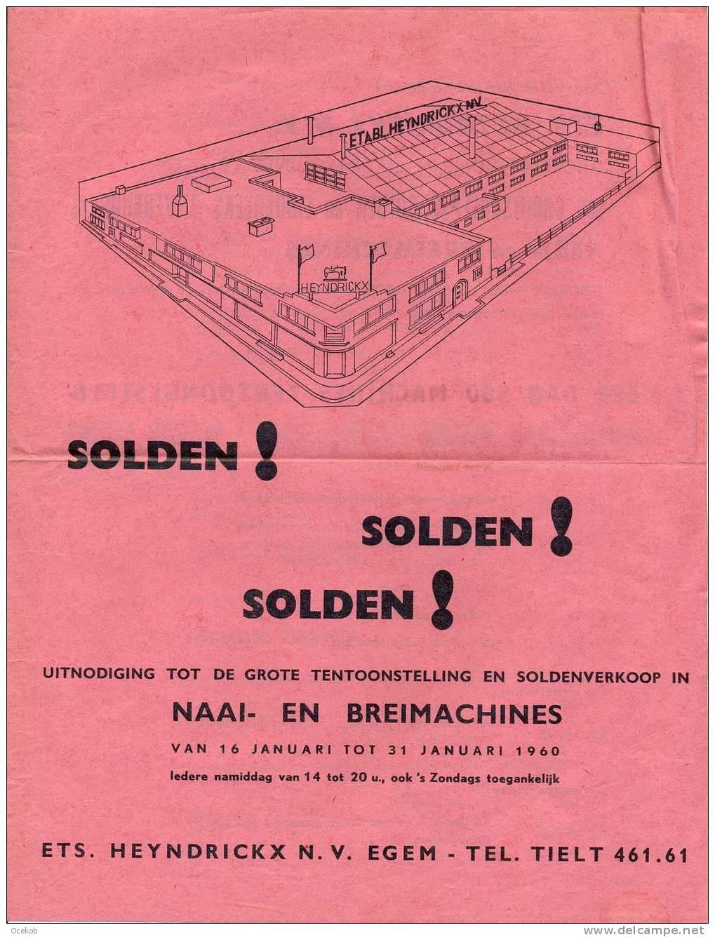 Pub. Reclame Naaimachines - BERNINA - Heyndrickx N.V. - Egem - Tielt  1960 - Publicidad