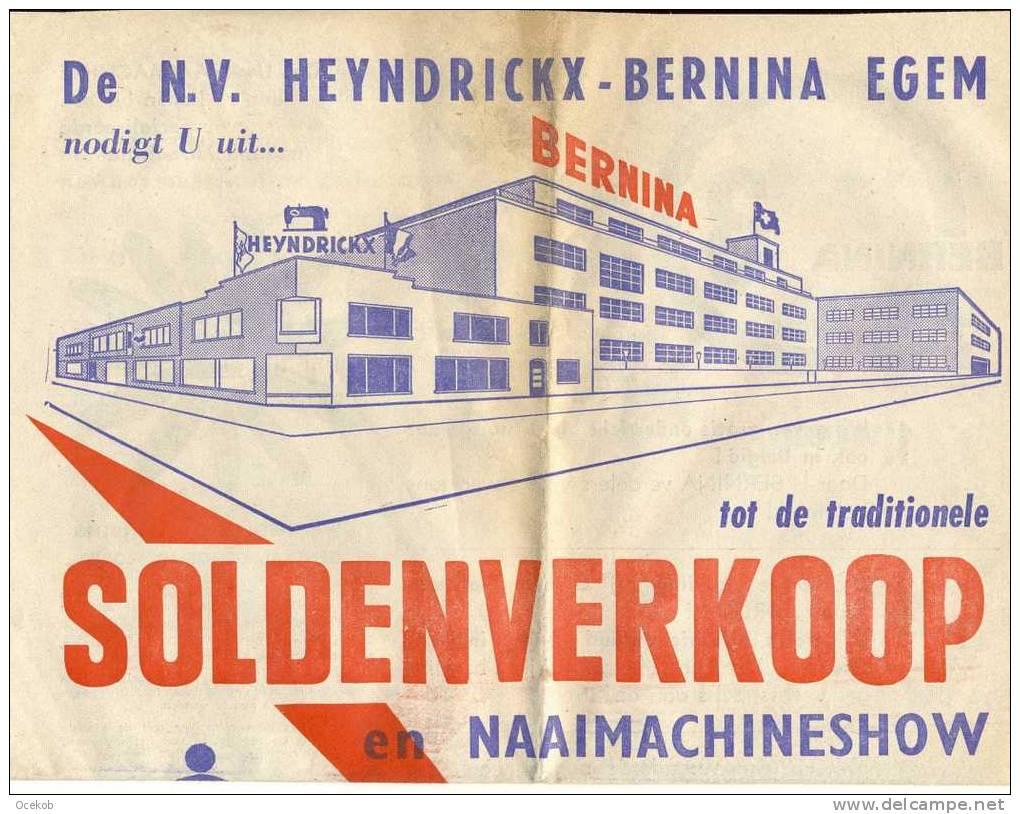 Pub. Reclame Naaimachines - BERNINA - Heyndrickx N.V. - Egem - Tielt  1965  Krant - Advertising