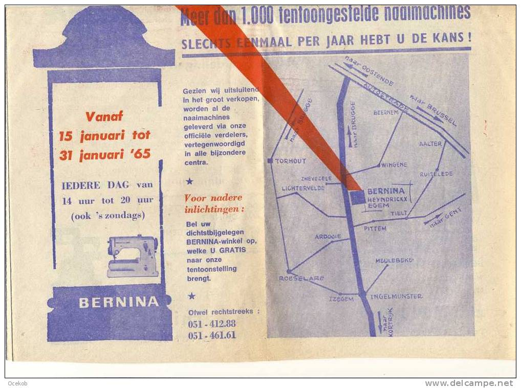 Pub. Reclame Naaimachines - BERNINA - Heyndrickx N.V. - Egem - Tielt  1965  Krant - Pubblicitari