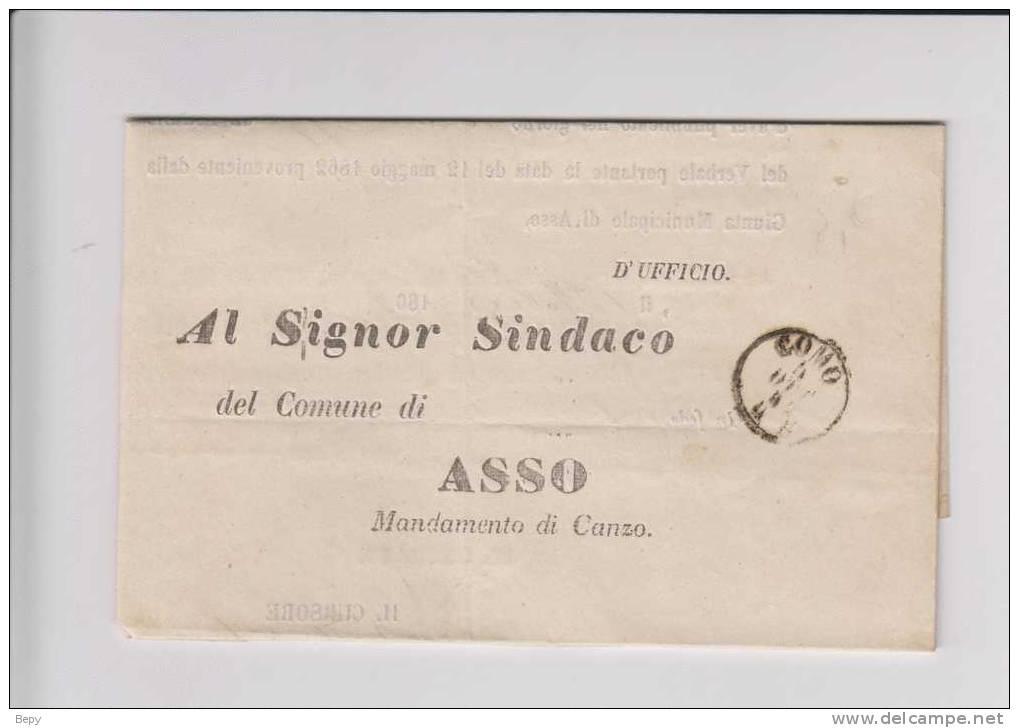 COMO Lettera Per Il Sindaco Di ASSO-storia Postale-francobolli-filatelia - Italia