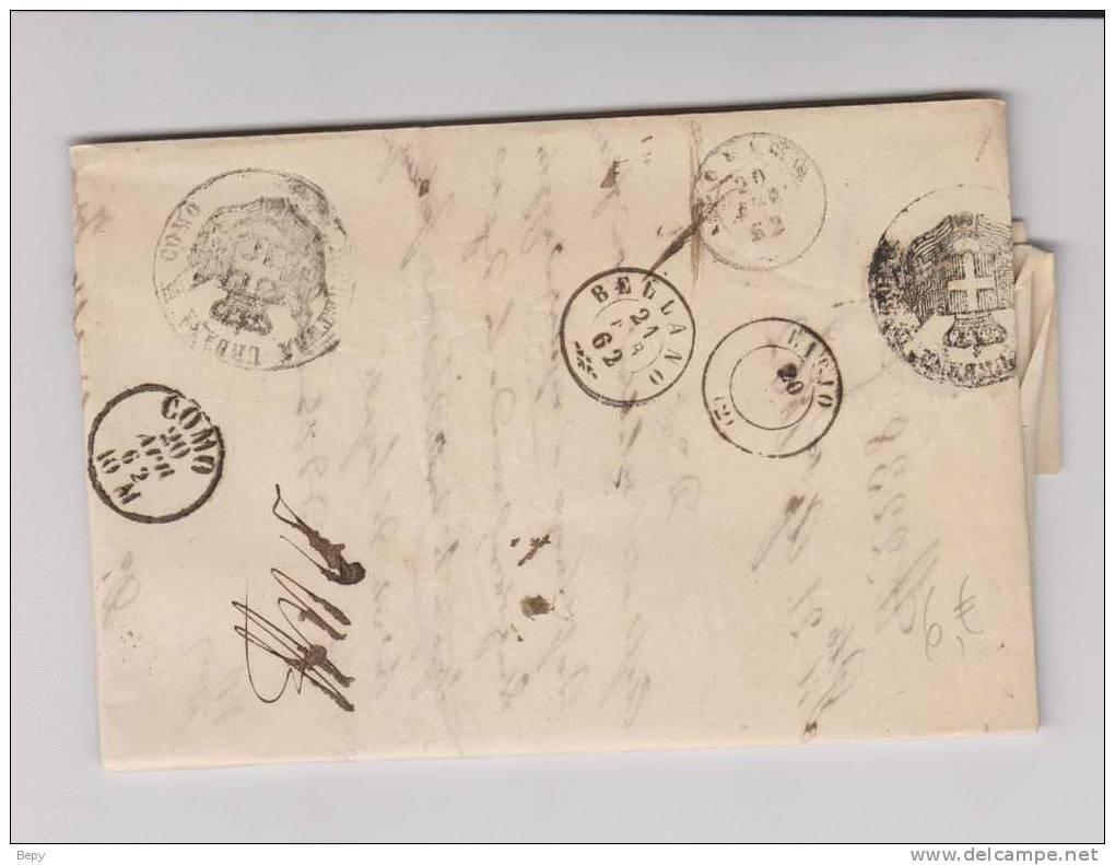 BELLANO-COMO Manoscritto-storia Postale-francobolli-filatelia - Italia