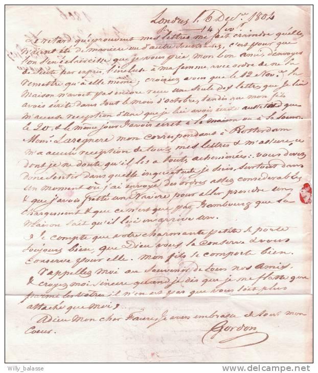 Belgique Precurseur 1804 Lettre Datee De Londres (recue Apres 3 Mois ) Avec Marque Passée En Fraude SUITE DESCRIPTION - 1794-1814 (Période Française)