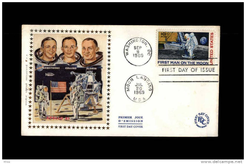 ENVELOPPE PREMIER JOUR - First Ma On The Moon - 1969 - Cosmonaute - Etats-Unis