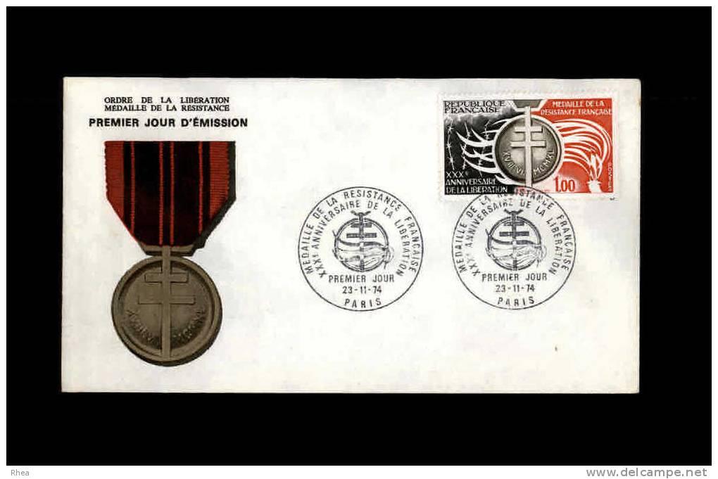 ENVELOPPE PREMIER JOUR - Ordre De La Libération - Médaille De La Résistance - 1974 - Guerre Mondiale (Seconde)