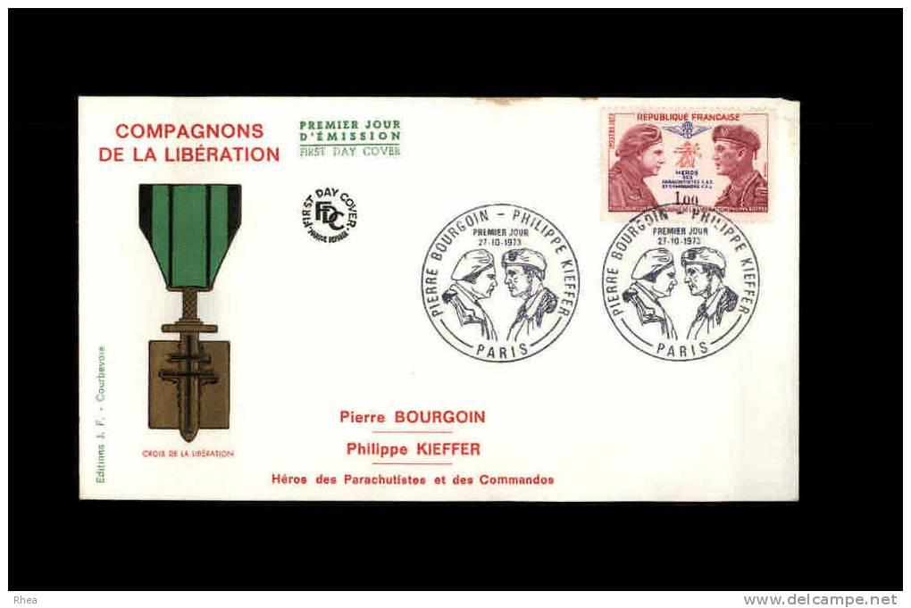 ENVELOPPE PREMIER JOUR - Compagnons De La Libération - 1973 - Guerre 39 45 - FDC