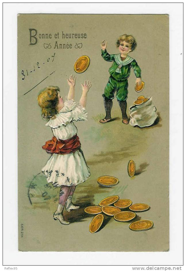 CARTE FANTAISIE GAUFFREE - Pièces De Monnaie - Monnaies (représentations)