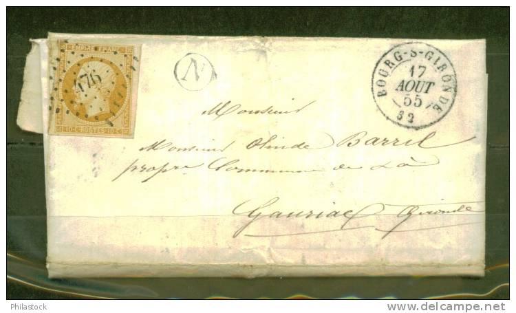 FRANCE N° 13 A B  S/Lettre Entiére + N Boite Rurale 1855 Bourg S/ Gironde Pour Gauriac (timbre Petit Défaut) - 1862 Napoleon III