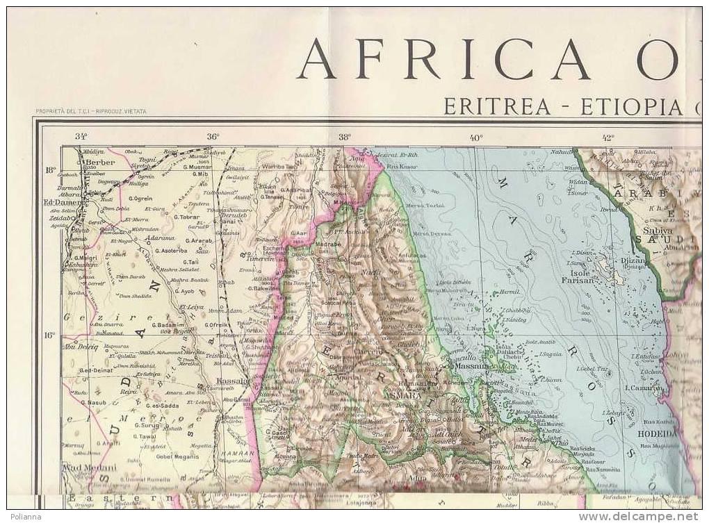 Cartina Eritrea.Geographical Maps C0345 Cartina Carta Dell Africa Orientale Touring Club 1935 Eritrea Etiopia Abissinia Somalia