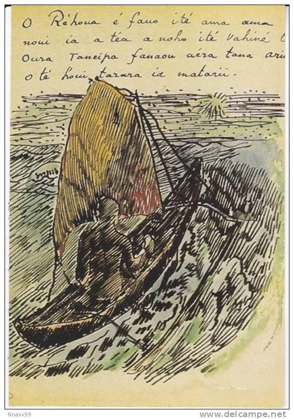 Art - Paul Gauguin - Handwritten Text In Tahitien & Illustration Mahorie: Sailboat, Musée Du Louvre, Paris, France - Pintura & Cuadros