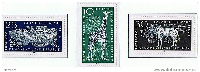 1965  Berlin Zoo: Giraffe, Iguna, Gnu   Mi Nr  1093-5   ** MNH - DDR