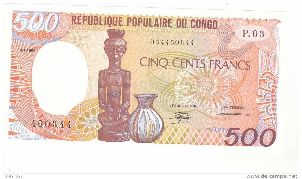 Congo Republic 500 Francs, 1989 UNC - Congo