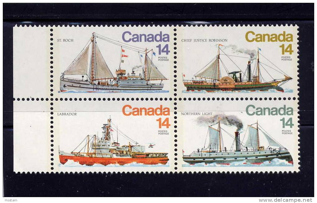 CANADA 1978, # 779a, ICE VESSELS     BLOCK OF 4 - Blocs-feuillets