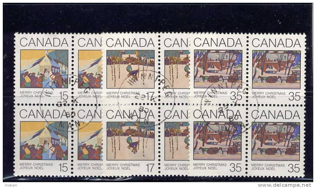 CANADA,1980, CANCELLED, # 870-1-2, CHRISTMAS GREETINGS CARDS, Blocks Of 4, CANCELLED ON ISSUE DATE - Blocs-feuillets
