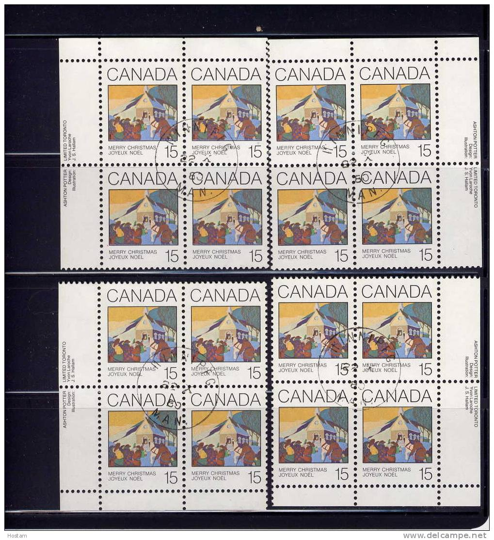 CANADA,1980, CANCELLED, # 870, CHRISTMAS GREETINGS CARDS,set Of 4 Blocks, CANCELLED ON ISSUE DATE - Blocs-feuillets