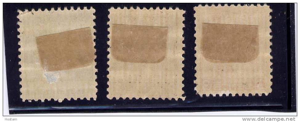 CANADA 1932, # 195-6-7, KING GEORGE V  MEDALLION  ISSUE  M HINGED W DAMAGE ON 195 - 1911-1935 Règne De George V
