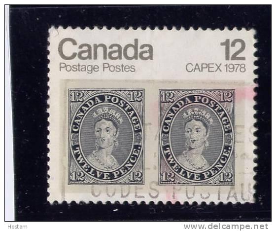"""CANADA 1978, USED #753iv, DOT IN  """"T"""" CAPEX 78 QUEEN VICTORIA, GB  STAMP 12d - 1952-.... Règne D'Elizabeth II"""
