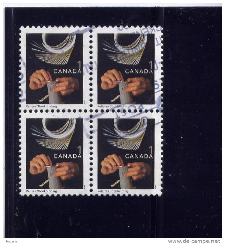 CANADA 1999, USED #1673, BLOCK OF 4 , TRADITIONAL TRADES DEFINITIVES: LOW VALUE: BOOKBINDING - Blocs-feuillets
