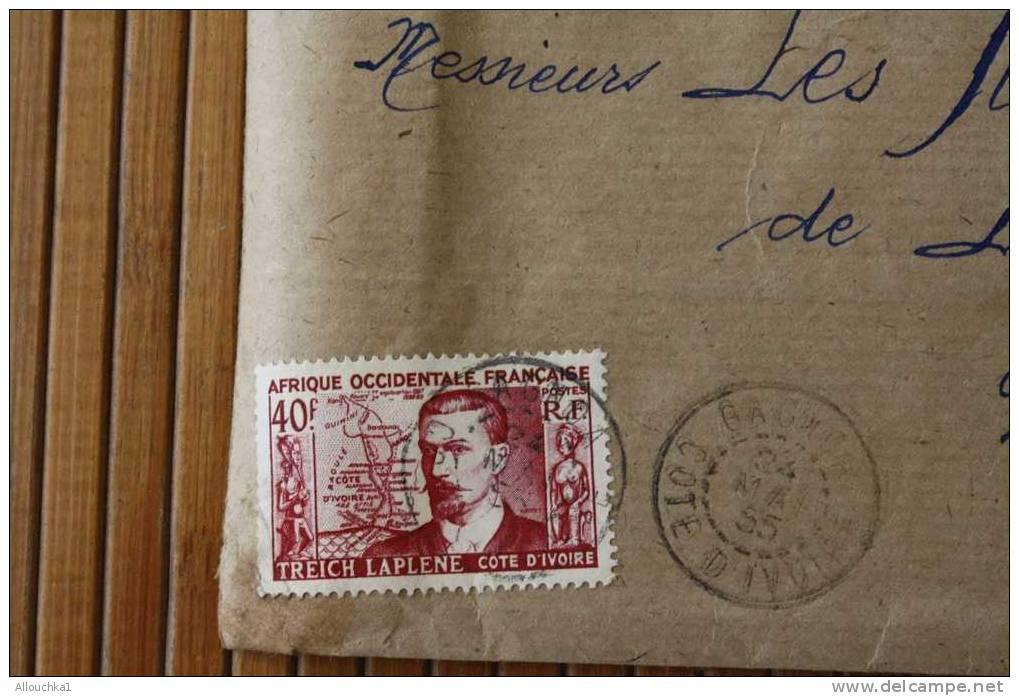 ABIDJAN GAGNOL Recommandé COTE D'IVOIRE  AFRIQUE OCCIDENTALE FRANCAISE LETTRE>TIMBRES De 1955 PAR AVION AIR MAIL   > > - Côte-d'Ivoire (1892-1944)