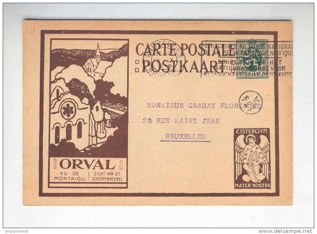 Carte Illustrée Brune ORVAL Avec Ange - Circulée BRUXELLES 1928  --  QQ294 - Stamped Stationery