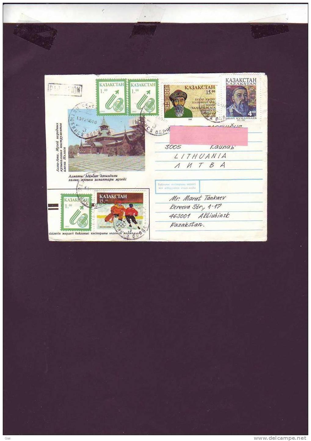 KAZAKISTAN 1996 - Lettera  Per La Lituania (olimpiadi) - Kasachstan