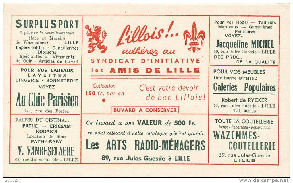 BU 551 /BUVARD -  SYNDICAT D'INITIATIVE  DES AMIS DE LILLE - Buvards, Protège-cahiers Illustrés