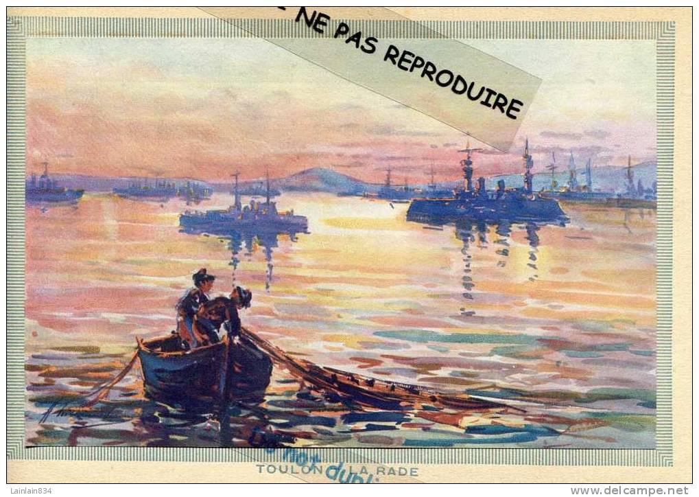 - TOULON - LA RADE - Plusieurs Bateaux De Guerre, Marins Avec Ponpon, D'après Tableau De ( ? ), Très Bon état. - Boten