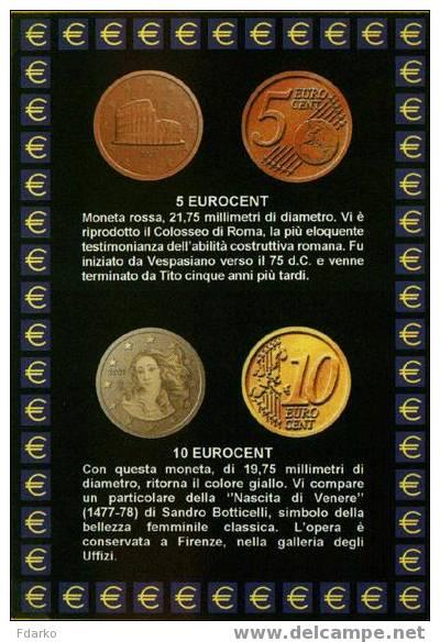 Carte Postale Euro Monnaies Italiennes 5 Et 10 Centimes - Monnaies (représentations)
