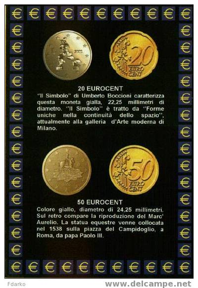Carte Postale Euro Monnaies Italiennes 20 Et 50 Centimes - Monnaies (représentations)