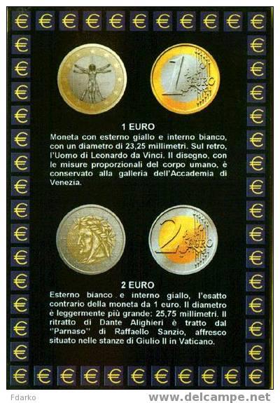 Carte Postale Euro Monnaies Italiennes 1 Et 2 Euro - Monnaies (représentations)