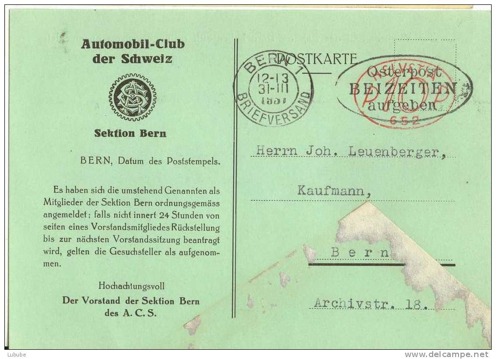 "Motiv Karte  ""Automobil-Club Der Schweiz""       1931 - Storia Postale"