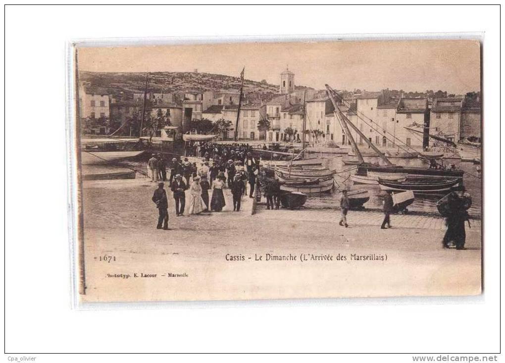 13 CASSIS Port, Le Dimanche, Arrivée Des Marseillais, Bien Animée, Ed Lacour 1671, Dos 1900 - Cassis