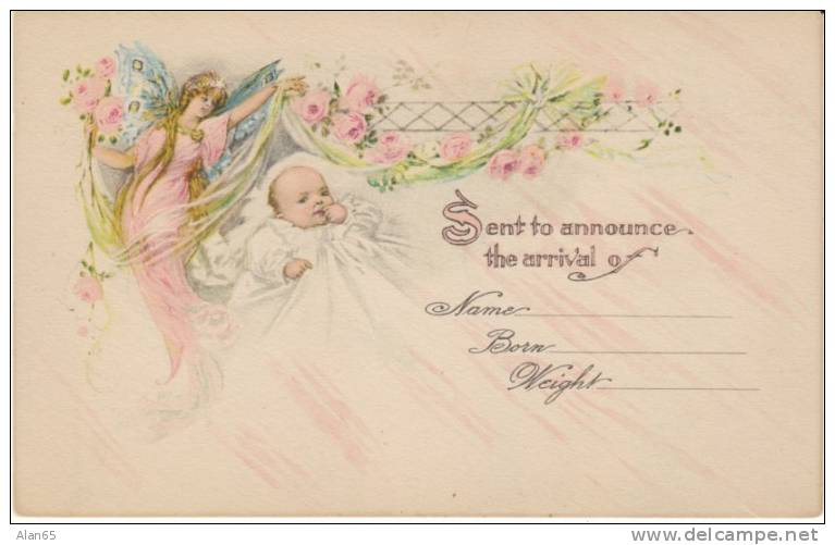 Birth Birth Announcement Congratulations Angel Watches Over – Vintage Baby Announcements