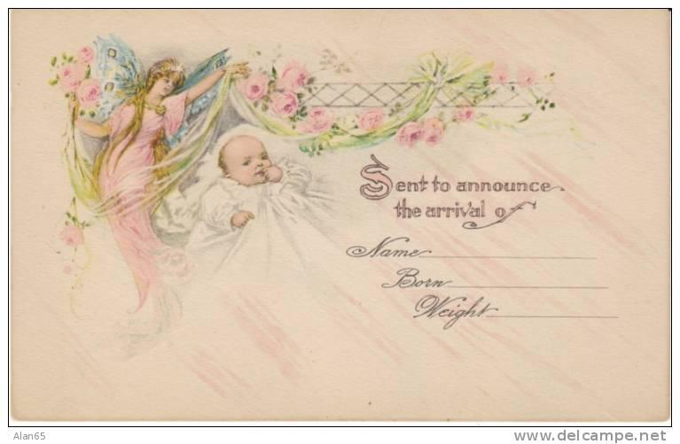 Birth Birth Announcement Congratulations Angel Watches Over – Vintage Birth Announcement