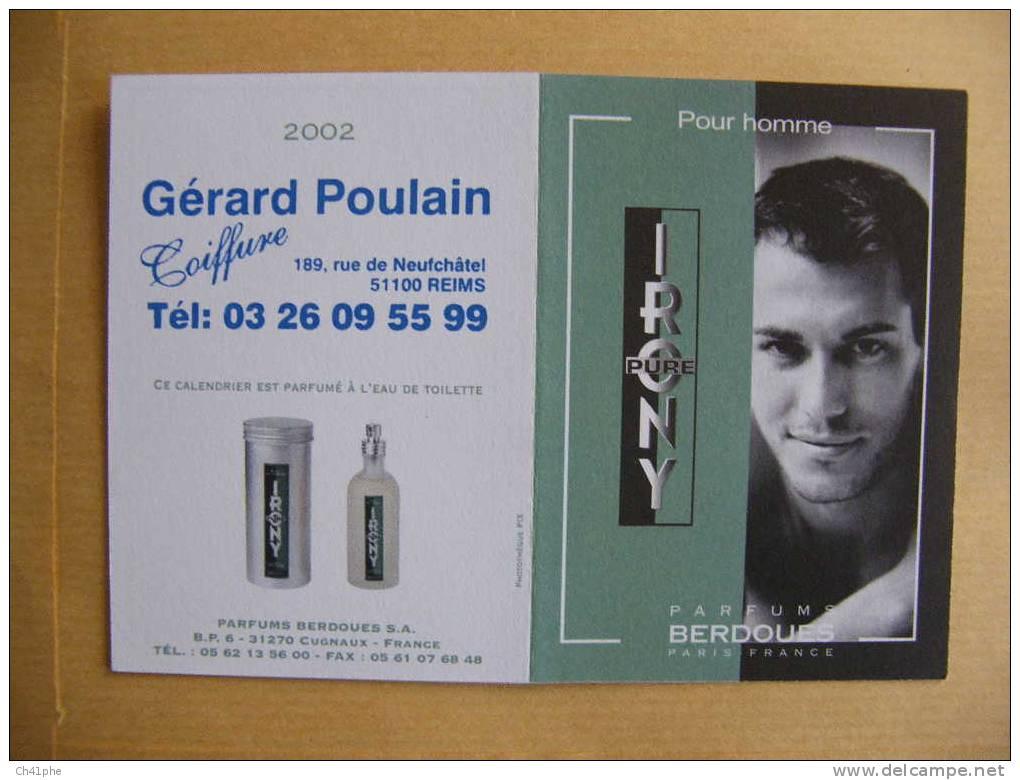 PURE IRONY POUR HOMME PARFUM BERDOUES PARIS FRANCE ANNEE CALENDRIER 2002 - Perfume Cards