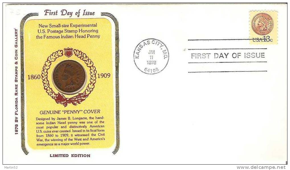 Indian Head Penny 1907 As Part Of A Numisletter With Matching Stamp Of 1978 - American Indians
