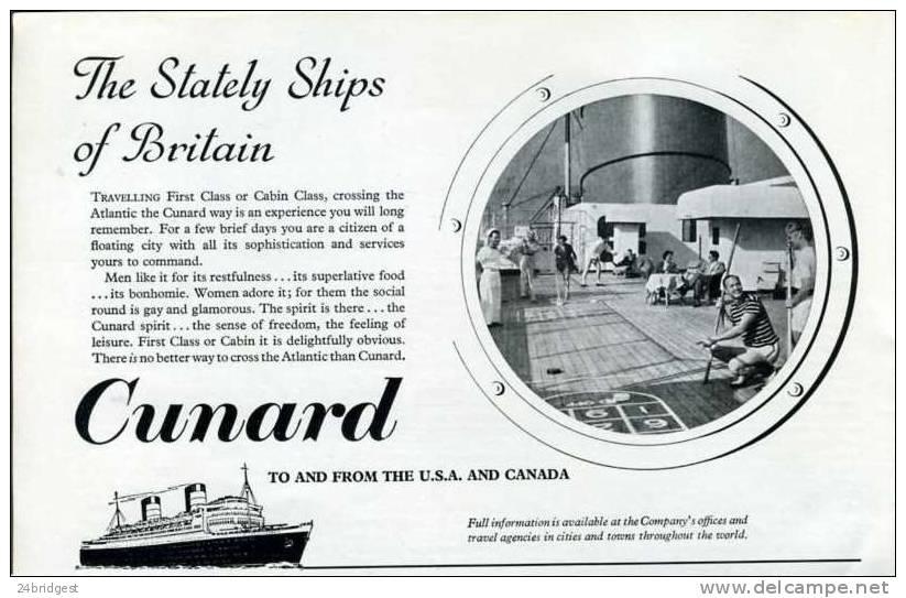 Cunard Shipping Line Advert  1957 - Boats