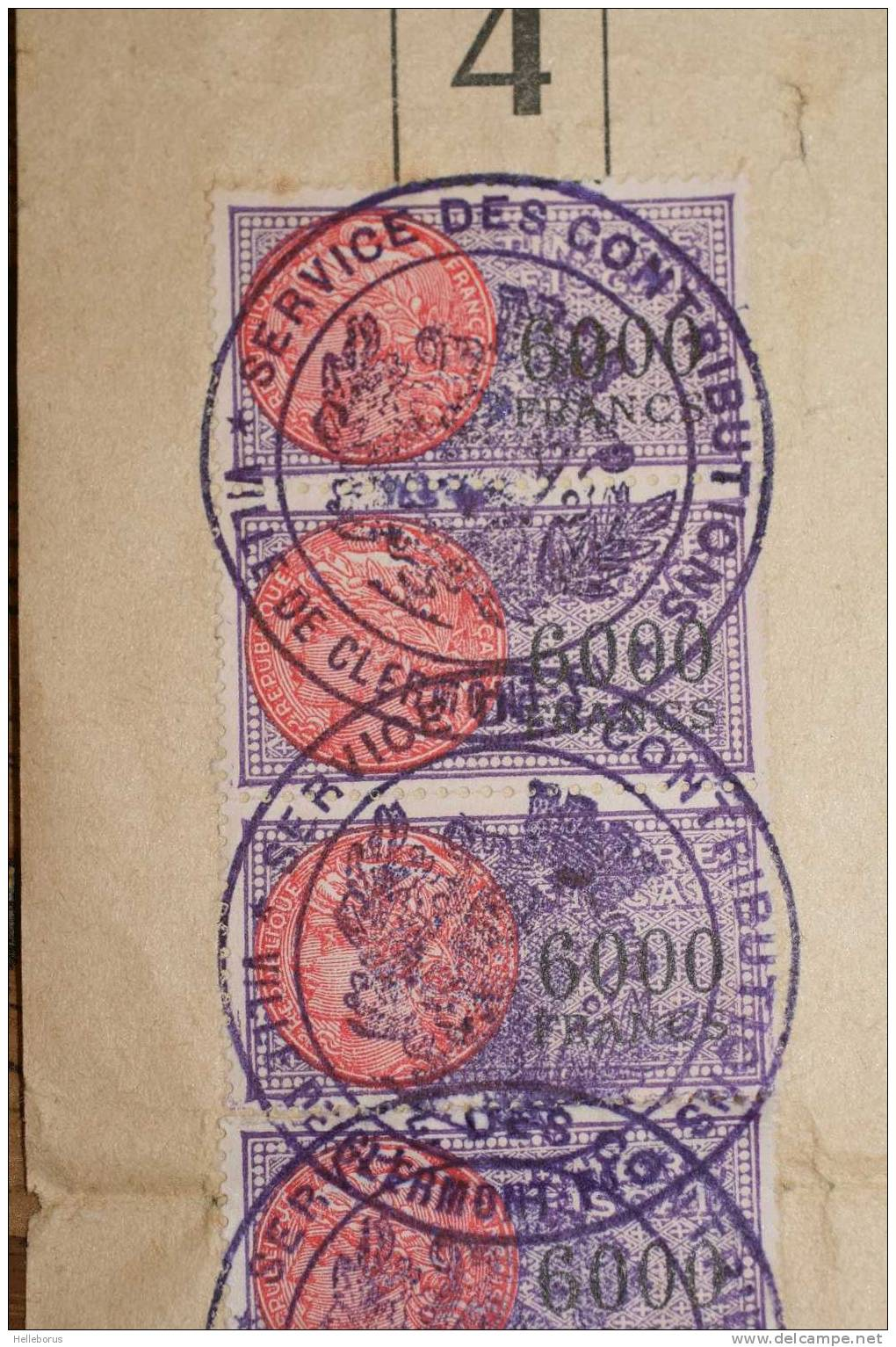 TRES RARE - DAUSSY 6000F N°YT317 - CLERMONT FERRAND Puy De Dôme 5 Exemplaires Sur Document Débit De Boissons De 1958 - Fiscaux