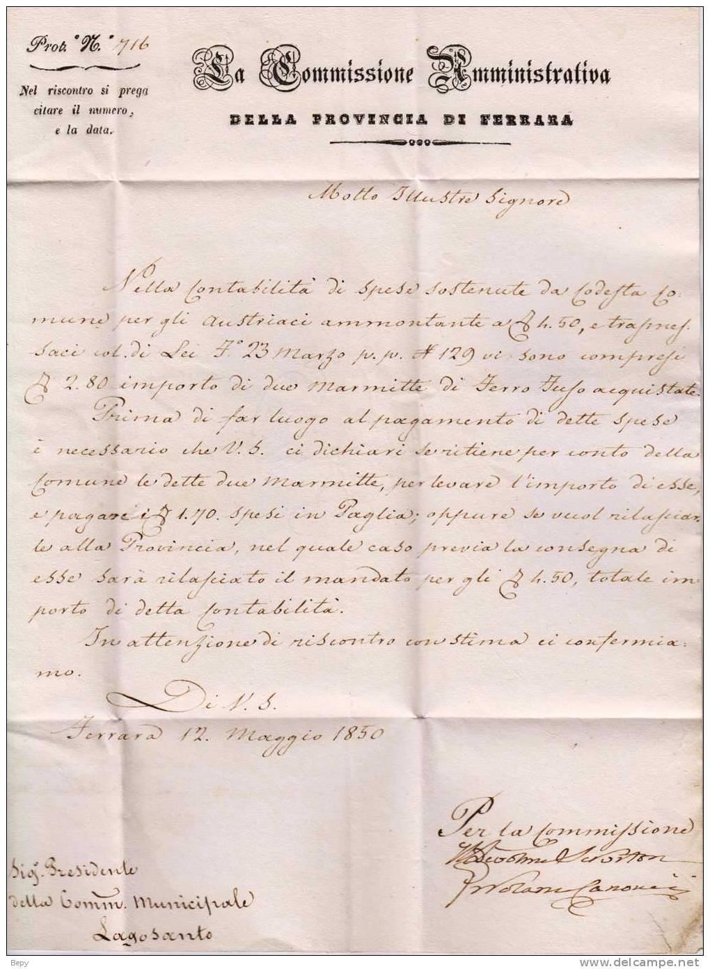 Prefelateliche-annulli-lettere-FERRARA. - Italia