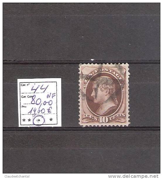 USA  N°44  Oblitéré   Cote :  14,00€. - 1847-99 General Issues